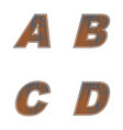 abcd letters of brown color design of old wood vector image vector image