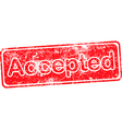 accepted red grunge rubber stamp vector image vector image