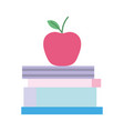 back to school education apple on stacked books vector image