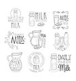 Best Organic Milk Product Set Of Hand Drawn Black vector image vector image