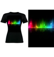 black t-shirt design with colorful sound wave vector image vector image