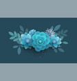 bouquet of paper flowers blue vector image vector image