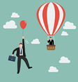 Businessman in hot air balloon fly pass vector image vector image