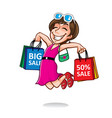 cartoon happy shopper girl vector image vector image