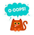 cat eating fish ooops conce vector image vector image