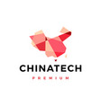 china tech geometric low poly logo icon vector image