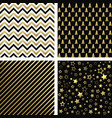 christmas black and gold seamless patterns vector image