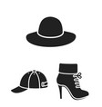 clothes and accessories black icons in set vector image vector image