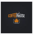 coffee beans logo coffee house sign on black vector image vector image