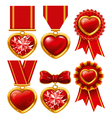 collection of medals in the form of hearts vector image vector image