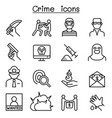 crime icon set in thin line style vector image vector image
