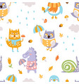 cute animals seamless pattern bright childish vector image vector image