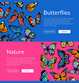 decorative butterflies web banner templates vector image