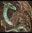 earthen brown dragon graphic color image vector image vector image
