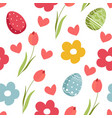 easter pattern with tulips bouquet and eggs vector image