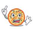 finger seafood pizza above cartoon board vector image vector image