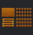 game ui big kit template wooden menu of vector image vector image
