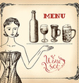 girl and wine - hand drawing vector image vector image