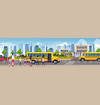 group of mix race children walking in yellow bus vector image vector image