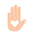 hand human with heart vector image vector image