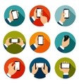 Hands with Phones Icons Set vector image vector image
