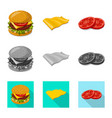 isolated object of burger and sandwich icon set vector image vector image