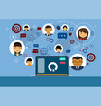 laptop over social media and network communication vector image vector image