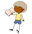 Little boy reading a book vector image vector image