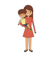 mother carrying her little boy vector image