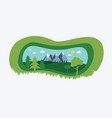 nature landscape with paper cut style design vector image vector image