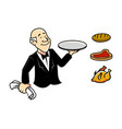 old waiter vector image vector image