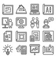 project and building design icons set line style vector image vector image
