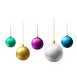 realistic christmas balls hanging on gold beads vector image vector image