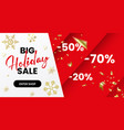 red christmas sale banner geometric horizontal vector image