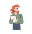 redhead smiling woman with textbooks isolated girl vector image vector image