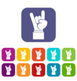 rock and roll hand sign icons set vector image