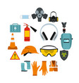 safety icons set flat style vector image vector image