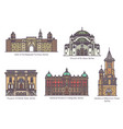 serbian famous architecture landmarks in thin line vector image vector image