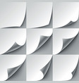 Set of 9 white paper curled corners with realistic vector image vector image