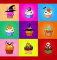 set of cute halloween cupcake icons on multicolor vector image