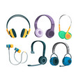set of various headphones vector image