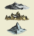 set vintage old engraving with mountains peaks vector image vector image