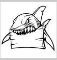 shark logo for a sport team on white vector image vector image