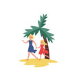 smiling mother and daughter running by beach sand vector image vector image