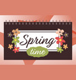 spring time hand drawn lettering banner with vector image