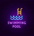 swimming pool neon label vector image vector image