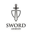 sword armor logo design inspiration vector image