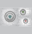 technology security concept with shield and keyhol vector image