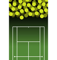 Tennis court and ball Lot of balls Tennis vector image vector image