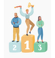 three people standing on podium ceremony awards vector image